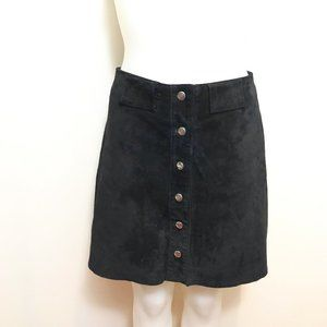 Suede Snap Front Skirt